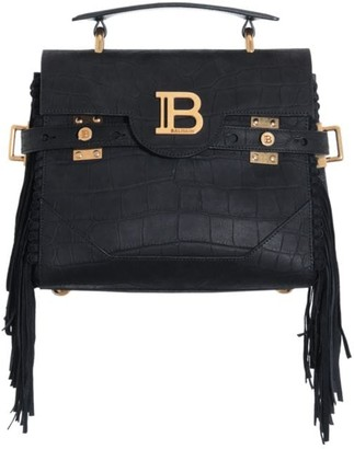 Balmain B-Buzz Fringe Croc-Embossed Leather Satchel