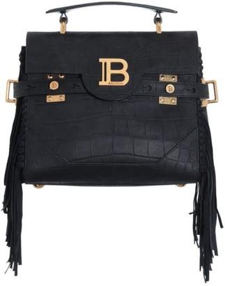 Balmain B-Buzz Fringe Croc-Embossed Leather Top Handle Bag