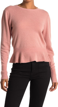 Frame Cinched Ruffle Hem Cashmere Sweater