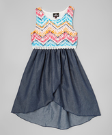 Dollhouse Navy Chevron Hi-Low Dress - Toddler & Girls