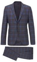 HUGO BOSS - Extra Slim Fit Suit In Melange Virgin Wool - Dark Blue