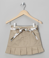 Eddie Bauer Khaki Plaid Belted Pleated Skirt - Girls