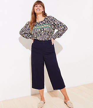 LOFT Plus Slim Wide Leg Ankle Pants