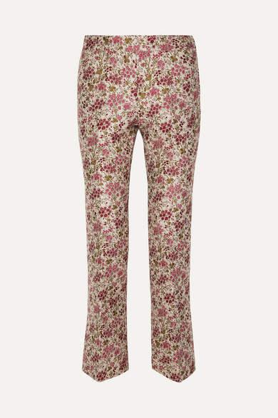 Giambattista Valli Floral-jacquard Straight-leg Pants - Red