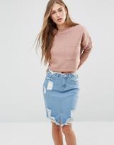 Missguided Ribbed Pocket Sweatshirt