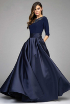 Mac Duggal Couture - 80682 3/4 Sleeve Gown In Midnight Blue