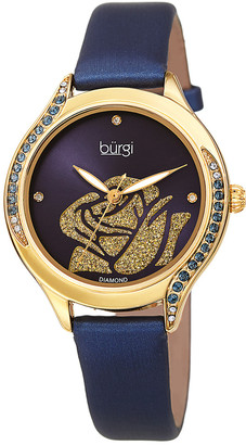 Burgi Women's Leather Diamond Watch