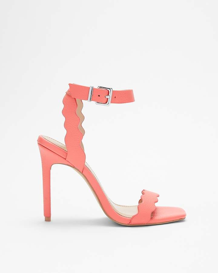 Express Square Toe Scalloped Heeled Sandal