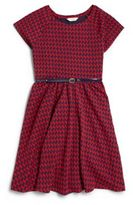 Hartstrings Girl's Houndstooth Knit Jacquard Dress