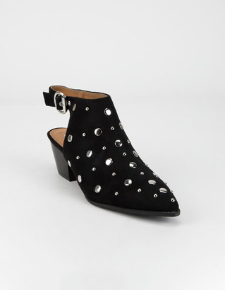 Qupid Studded Womens Black Slingback Booties