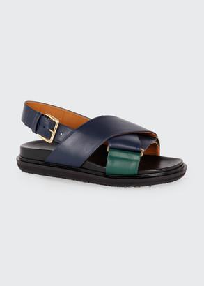 Marni Crisscross Slingback Flat Sandals