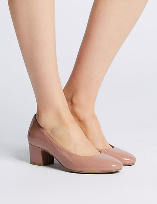 Marks and Spencer Wide Fit Patent Block Heel Court Shoes