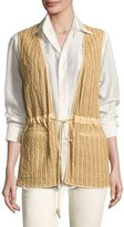 Ralph Lauren Tracy Woven Leather Drawstring Vest, Tan