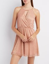 Charlotte Russe Shimmer Surplice Skater Dress