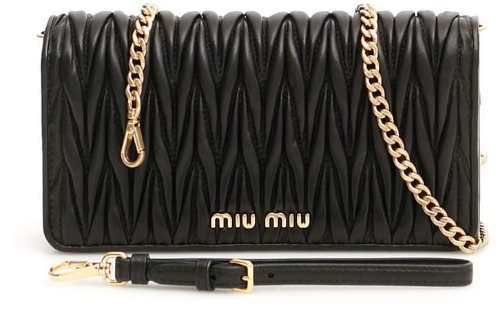 Miu Miu Matelasse Clutch With Chain