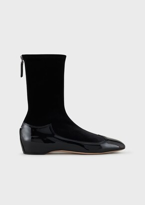 Giorgio Armani Patent Leather And Velvet Boots With Internal Wedge