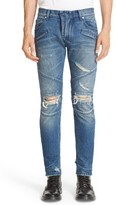 Pierre Balmain Men's Distressed Moto Jeans