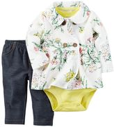 Carter's Baby Girl Floral Jacket, Bodysuit & Pants Set