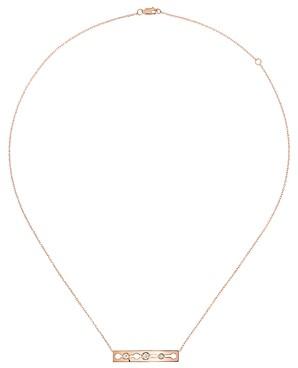 Dinh Van 18K Rose Gold Pulse Bar Station Necklace with Diamonds, 16.5