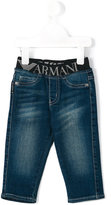 Armani Junior logo waistband jeans - kids - Cotton/Spandex/Elastane - 12 mth
