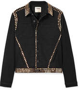 L'Agence Celine Studded Denim Jacket - Black