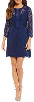 Laundry by Shelli Segal Bell Sleeve Stretch Lace Fit-and-Flare Dress