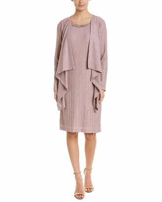 Jessica Howard Women's Mock Jacket Dress with Beaded Neckline