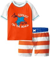 iXtreme Little Boys Shark Rashguard Stripes Swim Short Set