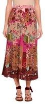 Valentino Garden of Delight Pleated Tea-Length Skirt, Multi