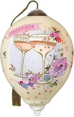 The NeQwa Art Together Love hand-painted blown glass wedding or anniversary ornament