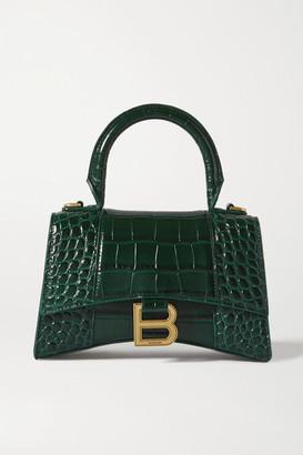 Balenciaga Hourglass Xs Croc-effect Leather Tote - Green