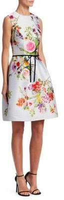 Monique Lhuillier Dotted Bouquet Sleeveless Dress