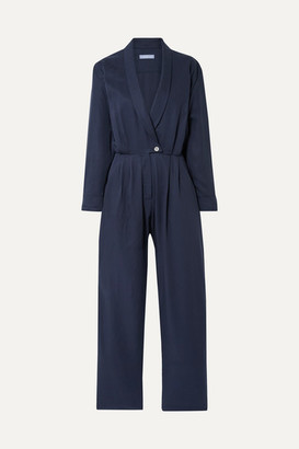 PARADISED Jane Wrap-effect Tencel Jumpsuit - Navy