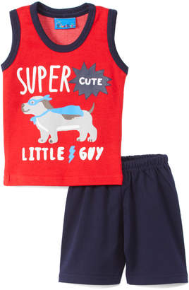 Sweet & Soft Boys' Casual Shorts Red - Red & Navy 'Super Cute' Puppy Tank & Shorts - Infant
