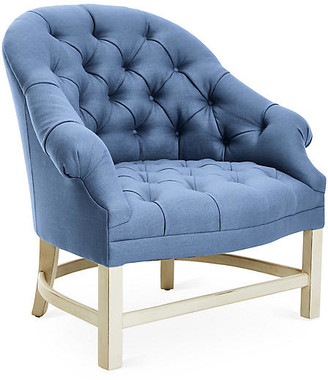 Bunny Williams Home Tufted Accent Chair - Alpine/Cornflower Linen frame, alpine white; upholstery, cornflower blue