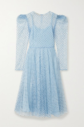 Philosophy di Lorenzo Serafini Polka-dot Flocked Lace Midi Dress - Light blue
