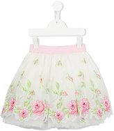 MonnaLisa embroidered rose tulle skirt - kids - Silk/Cotton/Polyamide/Polyester - 2 yrs