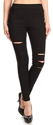 f700f0e017c7f Jvini Women's Ultra Soft Stretch Pull-On Skinny Ripped Jean Jegging Pants S