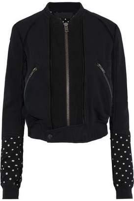 Haider Ackermann Polka-dot Jersey-paneled French Cotton-terry Bomber Jacket
