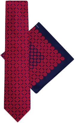 Stefano Ricci Men's Medallion Printed Silk Tie/Pocket Square Set