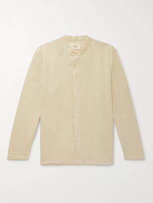 Folk Grandad-Collar Slub Linen And Cotton-Blend Shirt