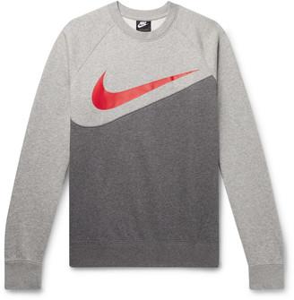 Nike Logo-Print Melange Fleece-Back Cotton-Jersey Sweatshirt - Men - Gray