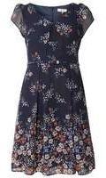 Dorothy Perkins Womens **Billie & Blossom Petite Navy Floral Skater Dress- Navy