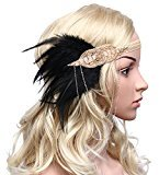BABEYOND Women's Roaring 20s Feather Headband 1920s Headpiece Hair Band Beaded Headband (Champagne)