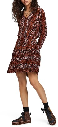Scotch & Soda Leopard Print Pleated Skirt Dress