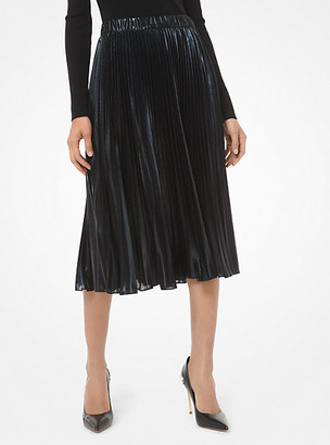 Michael Kors Foil Pleated Midi Skirt