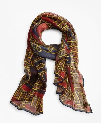 Brooks Brothers Knot-Print Silk Chiffon Oblong Scarf