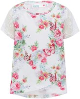 M&Co Floral lace sleeve top