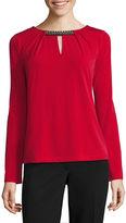 Liz Claiborne Long Sleeve Keyhole Neck T-Shirt