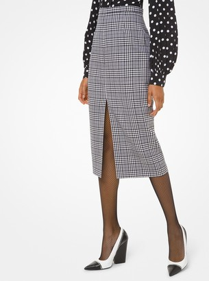 Michael Kors Collection Glen Plaid Wool Slit-Front Pencil Skirt